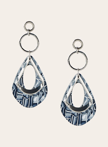 Marbled Teardrop Dangle Earrings, Grey, hi-res