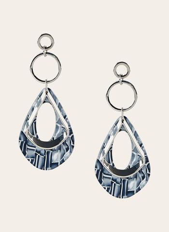 Boucles d'oreilles à pendants goutte d'eau marbrés, Gris, hi-res