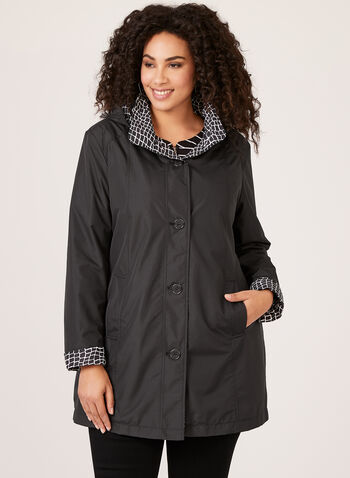 Fen-nelli - Hooded Water Repellent Coat, Black, hi-res