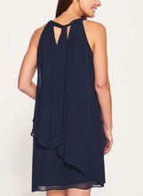 Cleo Neck Tiered Chiffon Dress, Blue, hi-res