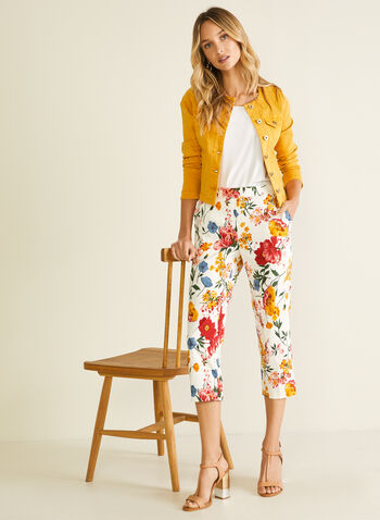 Floral Print Pull-On Capris, Multi,  capris, floral, pull-on straight leg, spring summer 2020