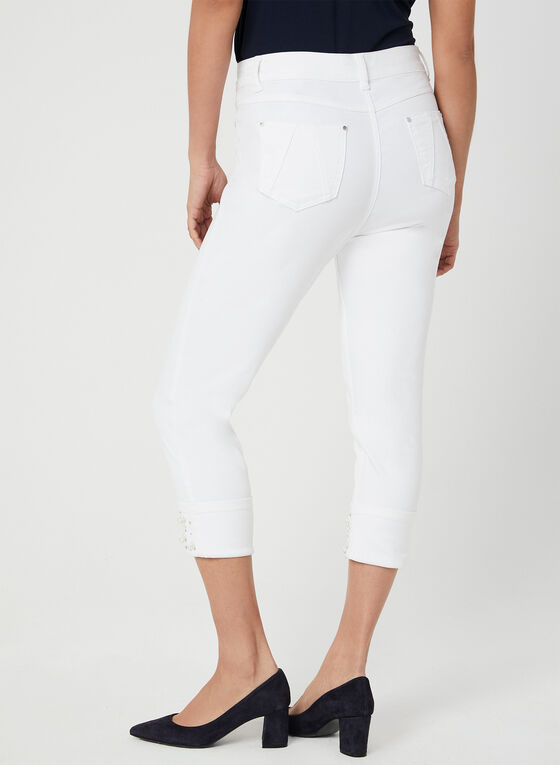 Embellished Signature Fit Capri Pants, White, hi-res