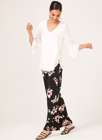 Floral Print Wide Leg Pull On Pants, Black, hi-res