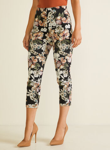 Floral Print Pull-On Capris , Black,  capris, pull-on, floral, bengaline, high rise, spring summer 2020