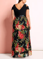 Floral Chiffon Cold Shoulder Dress, Black, hi-res