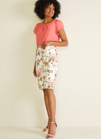 Floral Print Straight Skirt, White,  skirt, straight, floral, jersey, spring summer 2020
