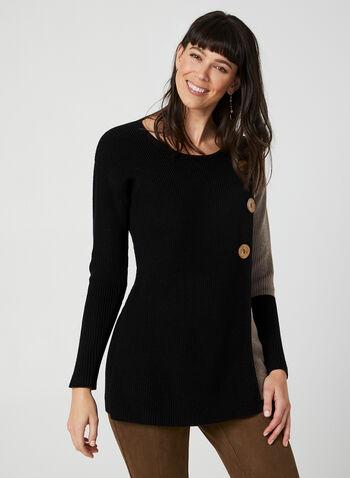Pull en tricot côtelé bi-ton, Noir,  pull, tricot côtelé, manches longues, portefeuille, coton, boutons, automne hiver 2019
