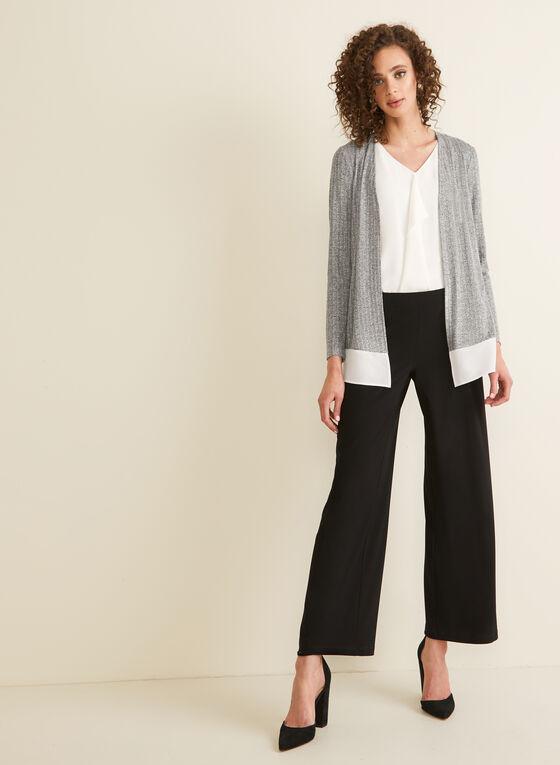 Long Sleeve Open Front Top, Grey