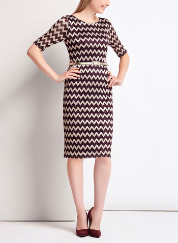 Zig Zag Print Crochet Dress, Red, hi-res