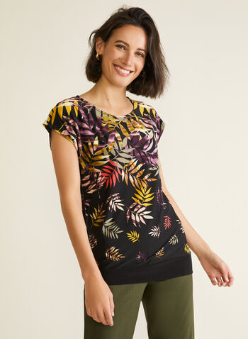 Tropical Print Short Sleeve Top, Multi,  top, short sleeves, tropical, jersey, spring summer 2020