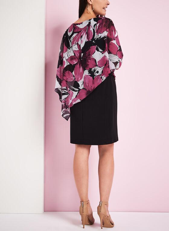 Robe poncho à fleurs avec épaules ajourées, Rouge, hi-res