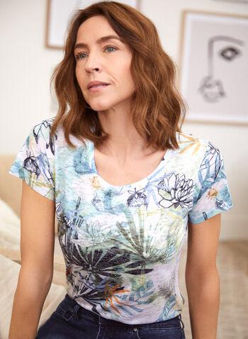 T-shirt chiné à motif floral, Blanc,  haut, t-shirt, encolure arrondie, manches courtes, motif floral, chiné, printemps été 2021