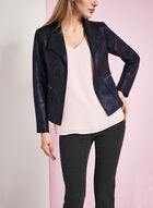 Scuba Knit Zipper Trim Jacket, Blue, hi-res