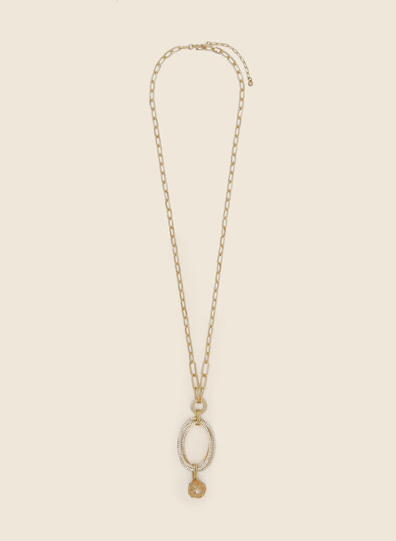 Necklace With Oval Crystal Pendant, Gold