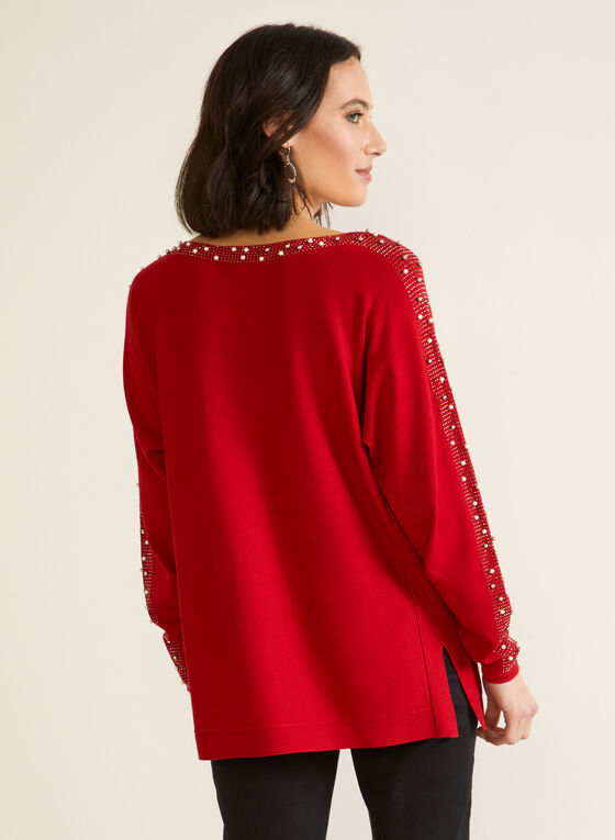 Embellished Dolman Sleeve Sweater, Red