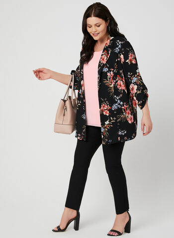 Floral Print Open Front Jacket, Black, hi-res,  notch collar, ¾ sleeves, spring 2019