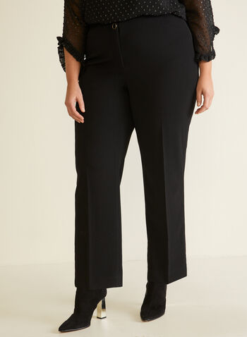 Wide Leg Pleated Pants, Black,  fall winter 2020, wide leg, pull-on, pull on, pants, crepe, elastic waist, holiday, knit, fly front, bottoms, comfort, stretch