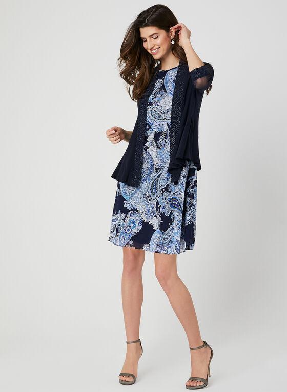 Boléro à détails floraux brillants, Bleu