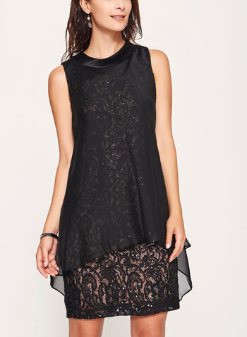 Reverse Collar Lace & Chiffon Trapeze Dress, , hi-res
