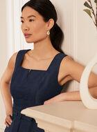 Sleeveless Jacquard Dress, Blue