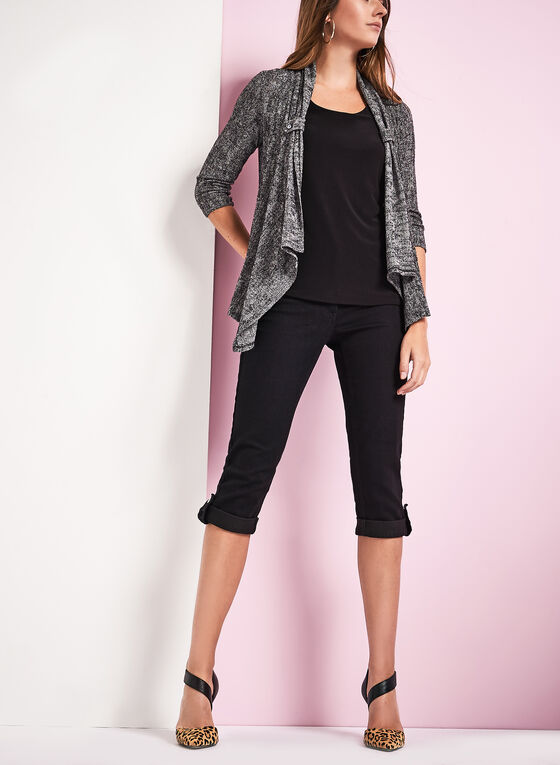 3/4 Sleeve Jacquard Knit Cardigan, Black, hi-res