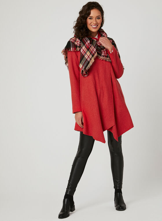 Asymmetrical Wool Coat, Orange, hi-res