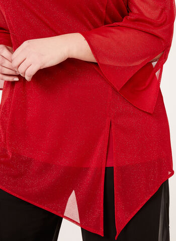Asymmetric Bell Sleeve Glitter Top, Red, hi-res