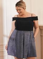 Flared Off-The-Shoulder Dress, Black