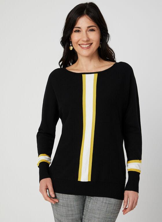 Stripe Print Sweater, Black, hi-res