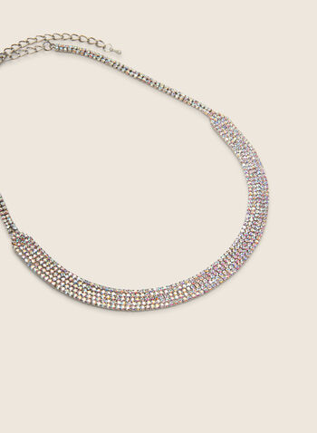 Short Curved Crystal Necklace, Multi,  necklace, short, curved, crystal, spring summer 2020