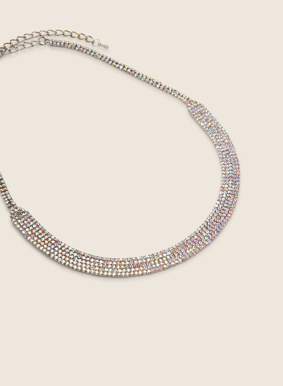 Short Curved Crystal Necklace, Multi