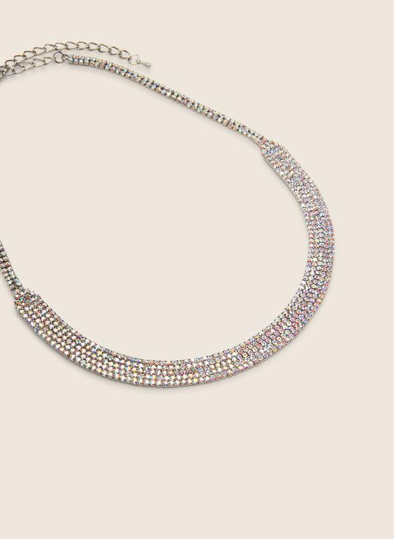 Collier court courbé à cristaux, Multi