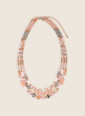 Triple Row Beaded Necklace, Pink,  necklace, stones, beads, triple, multi-row, faceted, pearl, metallic, spring summer 2020