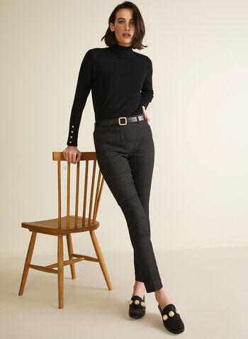 Pantalon à motif carreaux et jambe étroite, Noir,  pantalon, jambe étroite, carreaux, imprimé, bengaline, automne 2020