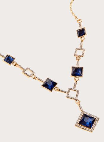 Collier avec pierres carrées facettées, Bleu, hi-res