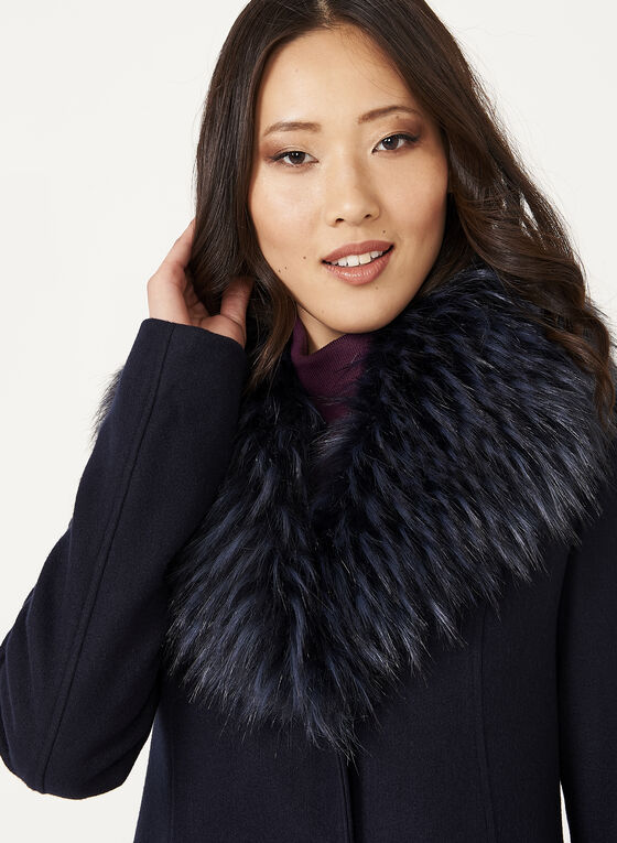 Faux Fur Collar Wool Like Coat, Blue, hi-res