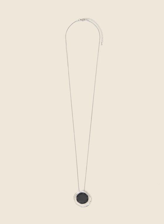 Collier à pendentif rond ajouré, Noir