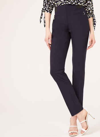Pantalon pull-on coupe cité extensible, Bleu, hi-res