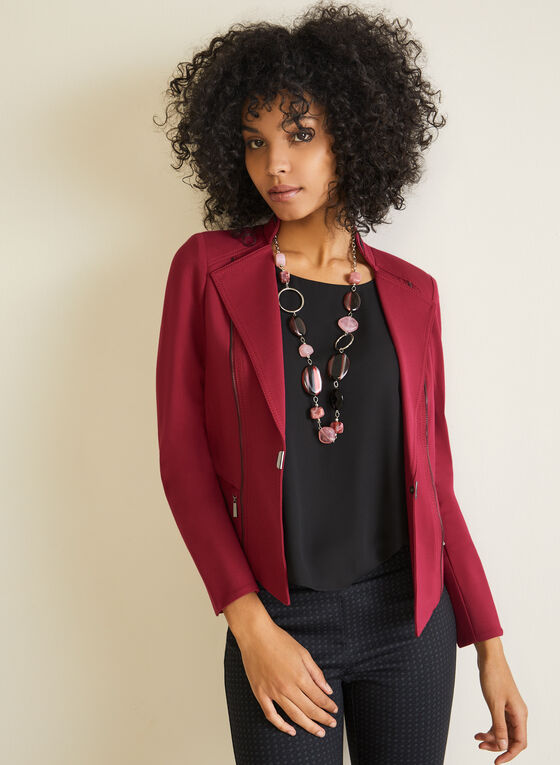 Open Front Zipper Detail Jacket, Purple