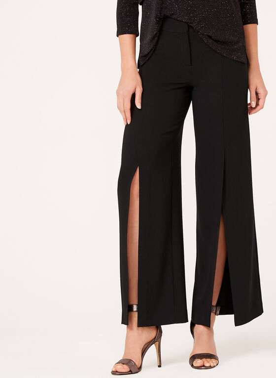 Modern Fit Slit Wide Leg Pants, Black, hi-res