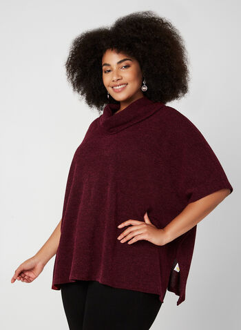 Cowl Neck Poncho Top, Red, hi-res,  poncho, slits on the side, cowl neck, knit, button detail, fall 2019
