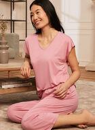 Haut de pyjama à encolure en V, Rose