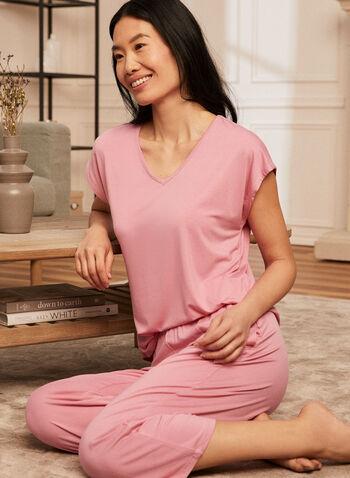 Haut de pyjama à encolure en V, Rose,  T-shirt, top, haut, chandail, pyjama, manches courtes, encolure V, col V, ourlet arrondi, printemps été 2021
