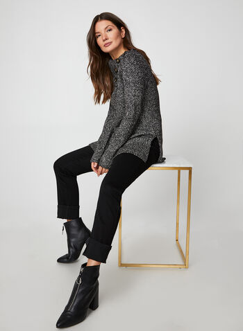 Split Neck Tunic Sweater, Black,  fall winter 2019, long sleeves, knit fabric, cowl neck