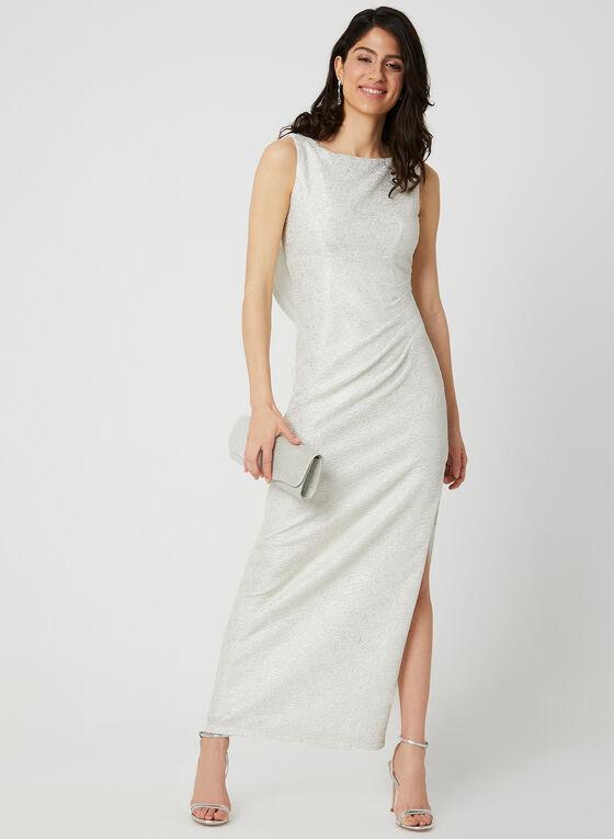 Robe longue texturée à effet métallisé, Blanc cassé