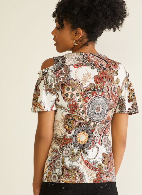 Paisley Print Cold Shoulder Top, White