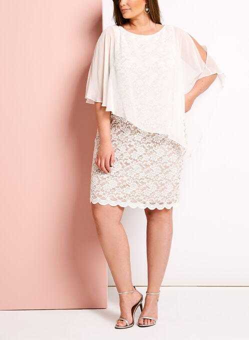 Cold Shoulder Lace Poncho Dress, White, hi-res