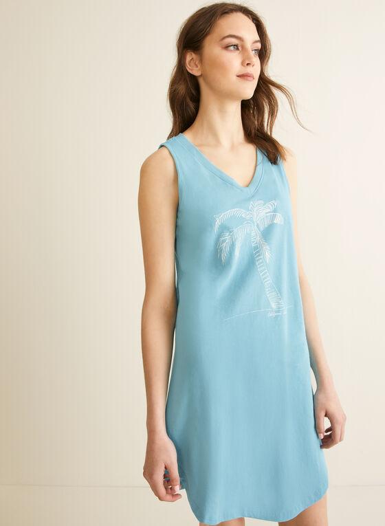 Comfort & Co. - Chemise de nuit à col V, Bleu