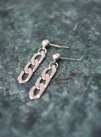 Chain Link Dangle Earrings, Silver,  spring 2021, jewelry, jewellery, earrings, accessories, dangle, three tier, 3 tier, silver tone metallic, chain link