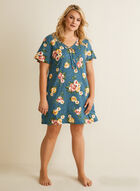 Hamilton - Dotted Floral Print Nightgown, Black